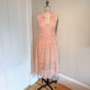 Sheer Lace Tie Neck Midi Overlay Prairie Dress
